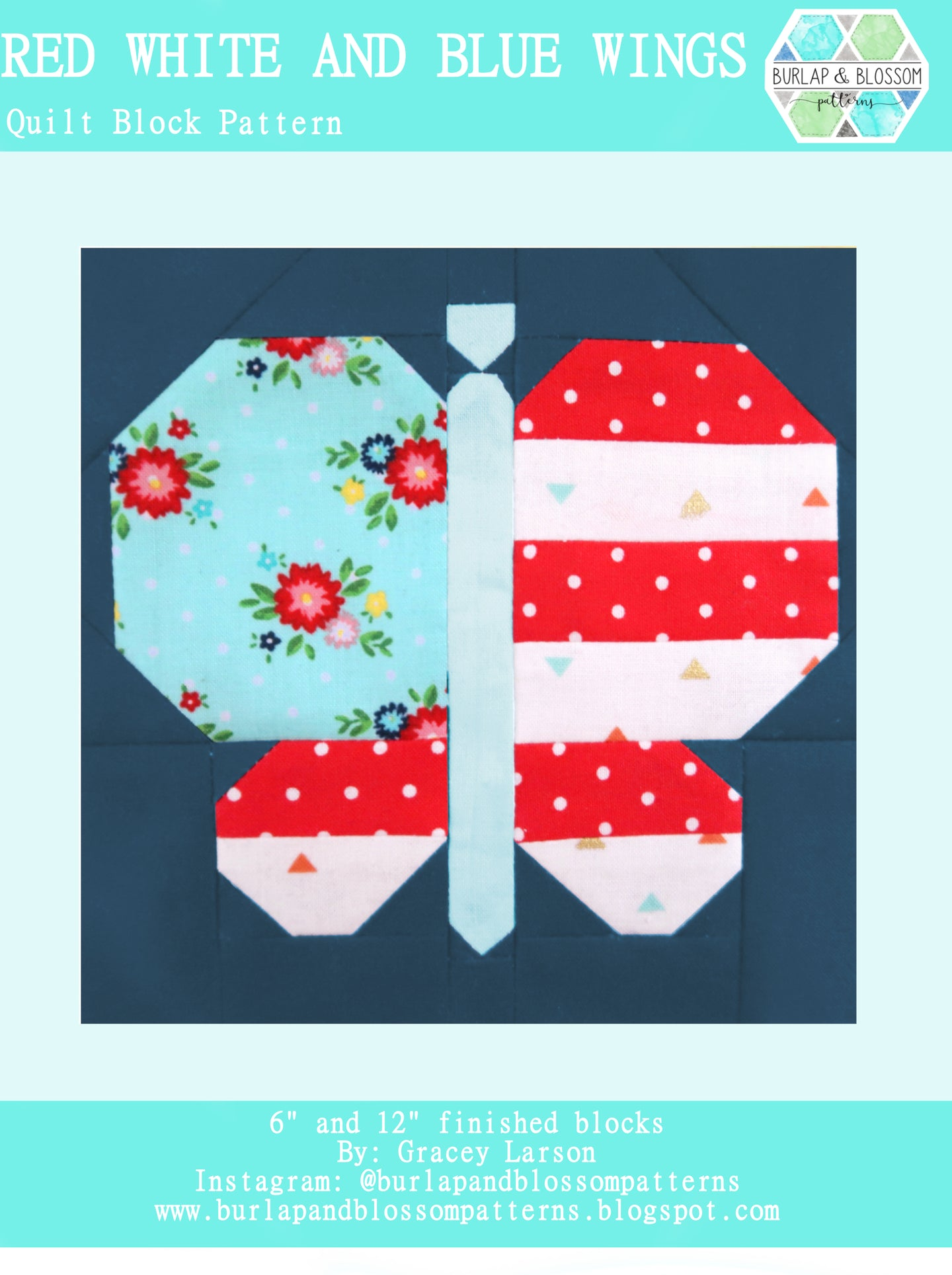 Pattern, Red, White, and Blue Butterfly Quilt Block by Burlap and Blossom (digital download)
