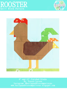 Pattern, Rooster Quilt Block by Burlap and Blossom (digital download)