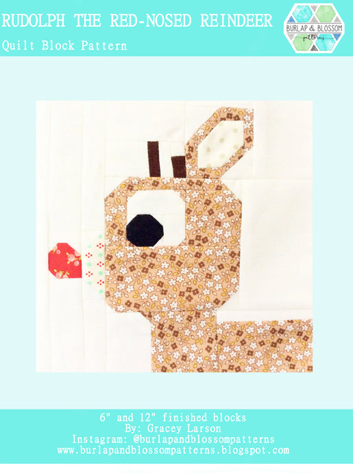 Pattern, Rudolph Quilt Block by Burlap and Blossom (digital download)