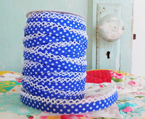 Double Fold Crochet Edge LACE BIAS TAPE - ROYAL BLUE POLKA DOT  (BY THE YARD)