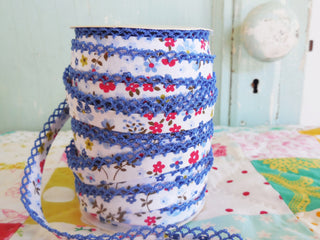 Load image into Gallery viewer, LACE BIAS TAPE, BLUE FLORAL Double Fold Crochet Edge  (BY THE YARD)