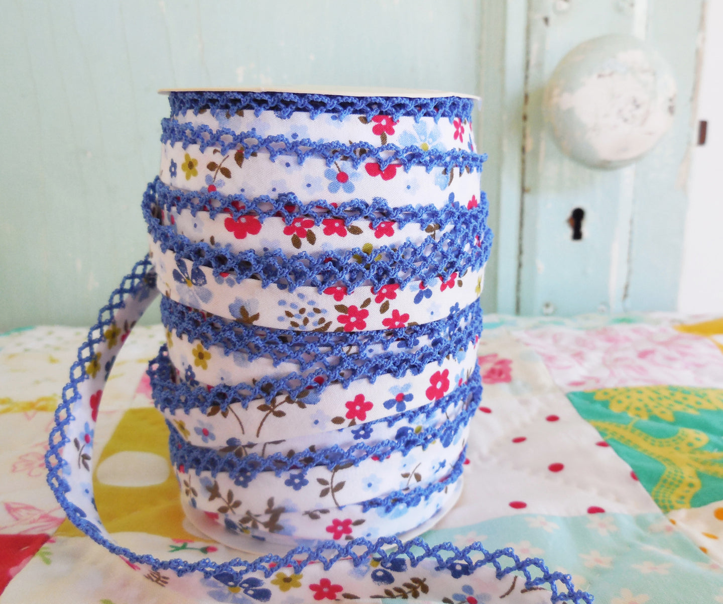 LACE BIAS TAPE, BLUE FLORAL Double Fold Crochet Edge  (BY THE YARD)