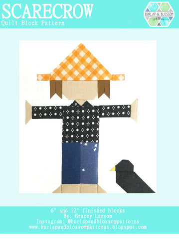 Pattern, Scarecrow Quilt Block by Burlap and Blossom (digital download)