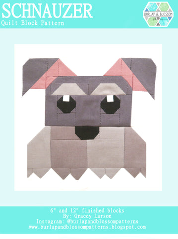 Pattern, Schnauzer Dog Quilt Block by Burlap and Blossom (digital download)