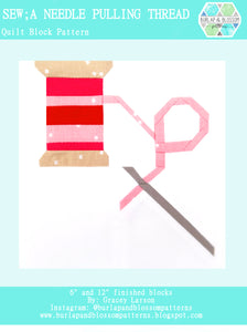 Pattern, Sew A Needle Pulling Thread Block by Burlap and Blossom (digital download)
