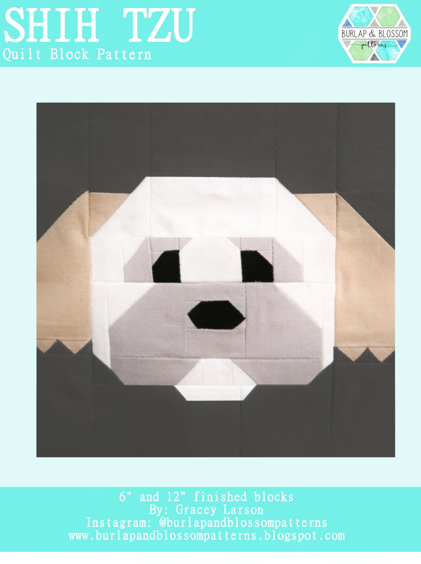 Pattern, Shih Tzu Dog Quilt Block by Burlap and Blossom (digital download)