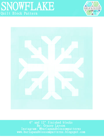 Pattern, Snowflake Quilt Block by Burlap and Blossom (digital download)