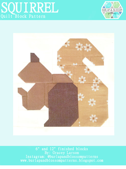 Pattern, Henrietta Squirrel Quilt Block by Burlap and Blossom (digital download)