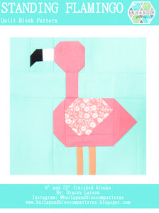 Pattern, Standing Flamingo Quilt Block by Burlap and Blossom (digital download)