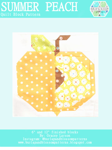 Pattern, Summer Peach Quilt Block by Burlap and Blossom (digital download)