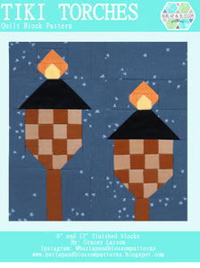 Pattern, Tiki Torches Quilt Block by Burlap and Blossom (digital download)