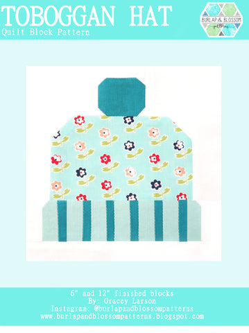Pattern, Toboggan Hat Quilt Block by Burlap and Blossom (digital download)