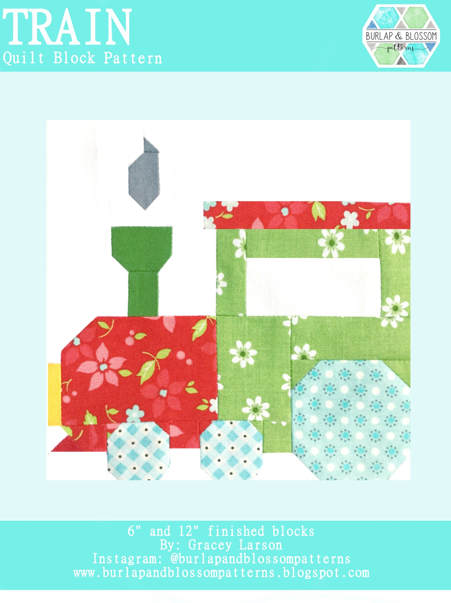Pattern, Train Quilt Block by Burlap and Blossom (digital download)