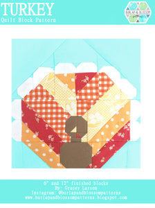 Pattern, Turkey Quilt Block by Burlap and Blossom (digital download)