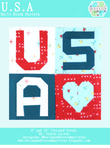 Pattern, Love USA Quilt Block by Burlap and Blossom (digital download)