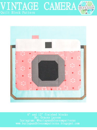 Pattern, Vintage Camera Quilt Block by Burlap and Blossom (digital download)