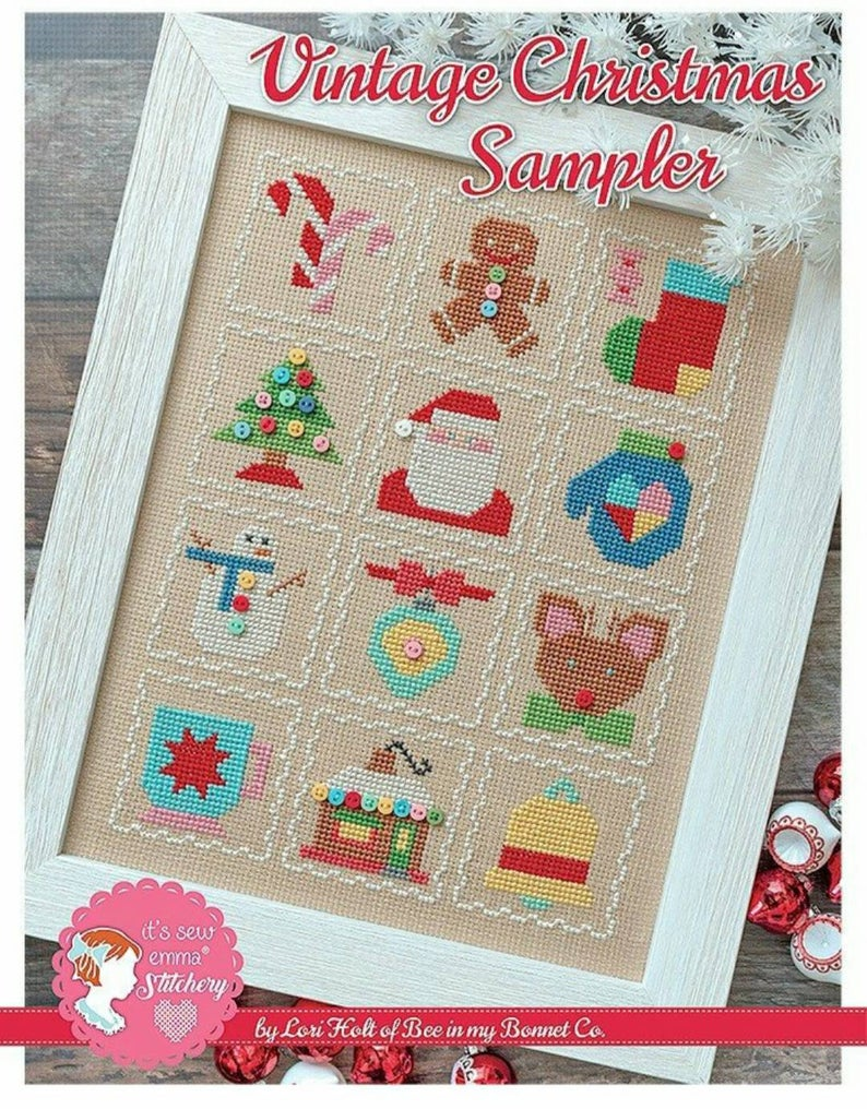 Counted Cross Stitch, It's Sew Emma Pattern by Lori Holt - VINTAGE CHRISTMAS SAMPLER