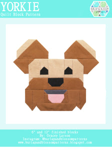 Pattern, Yorkie Terrier Dog Quilt Block by Burlap and Blossom (digital download)