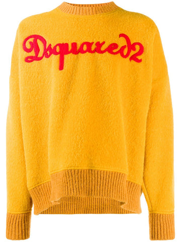 DSQUARED2 MUSTARD OVERSIZED LOGO JUMPER