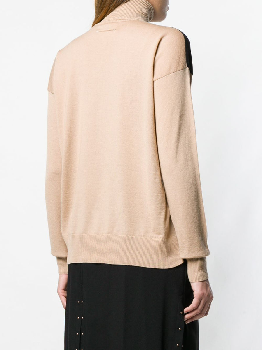 MM6 MAISON MARGIELA T-SHIRT OVERLAY TURTLE NECK SWEATER BEIGE/BLACK