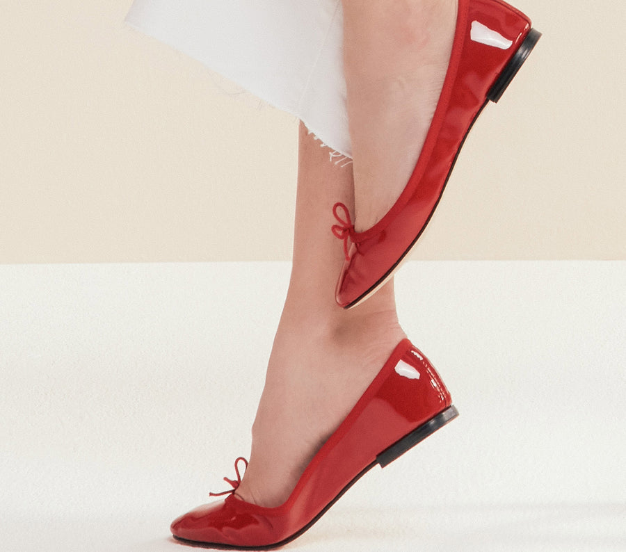 RED CENDRILLON BALLERINA PATENT LEATHER FLATS