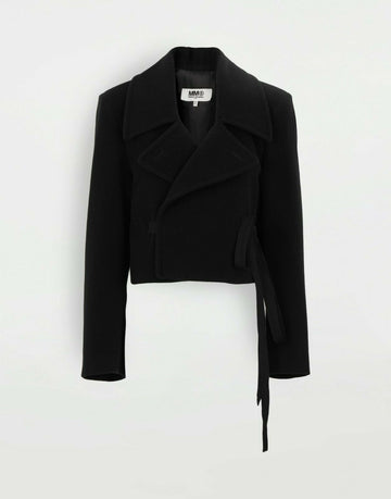MM6 MAISON MARGIELA CROP JACKET WITH STRINGS BLACK