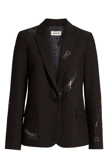 VICTOR STRASS STAR CRYSTAL BLAZER JACKET BLACK
