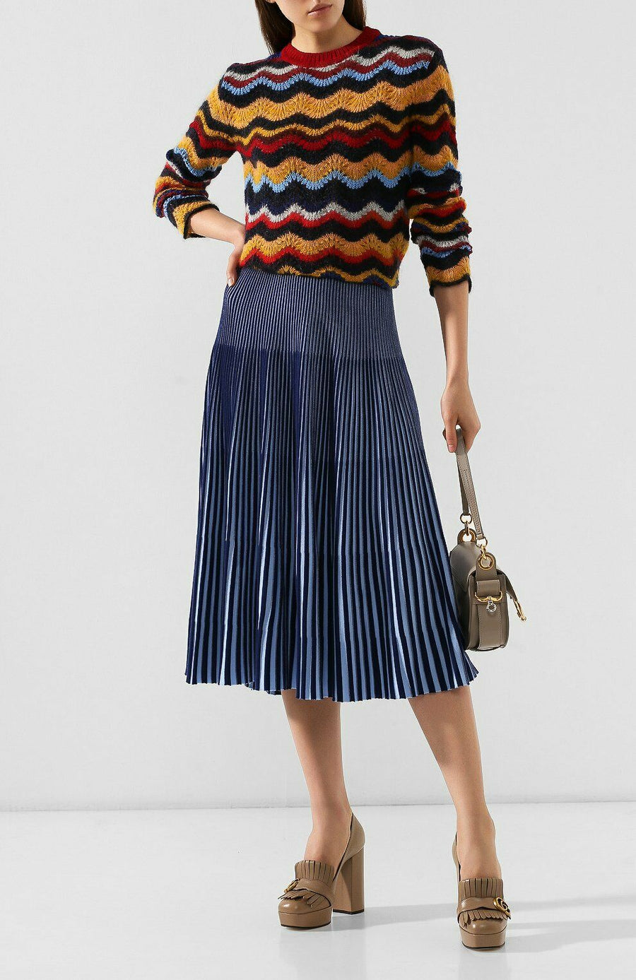 MARNI MULTI COLOR SWIRLS CREW NECK KNIT SWEATER