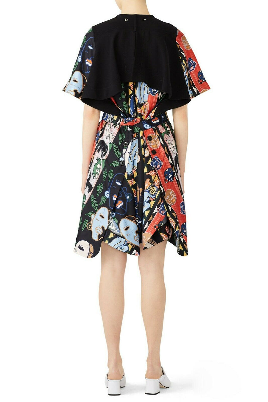 CARVEN POPOVER ABSTRACT DRESS BLACK MULTI