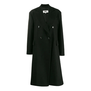 MM6 MAISON MARGIELA OVERSIZED DOUBLE BREASTED LONG COAT BLACK