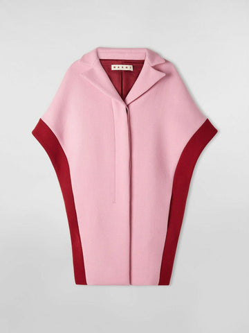MARNI DIAGONAL WOOL FELT CAPE PINK/DEEP RED