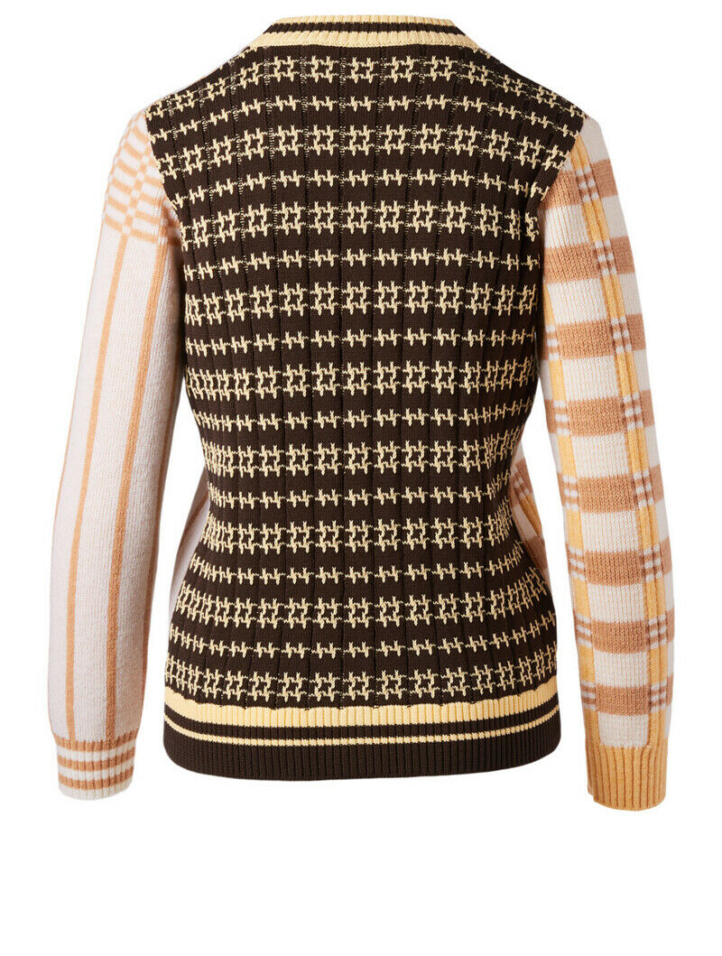 MARNI CARDIGAN IN WOOL AND COTTON JACQUARD ALABASTER IVORY MULTI