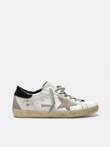 GOLDEN GOOSE SUPER-STAR SNEAKER WHITE WITH BLACK HEEL TAB AND METAL STUD
