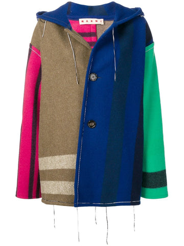 MARNI COLOR BLOCK PATCHWORK COAT