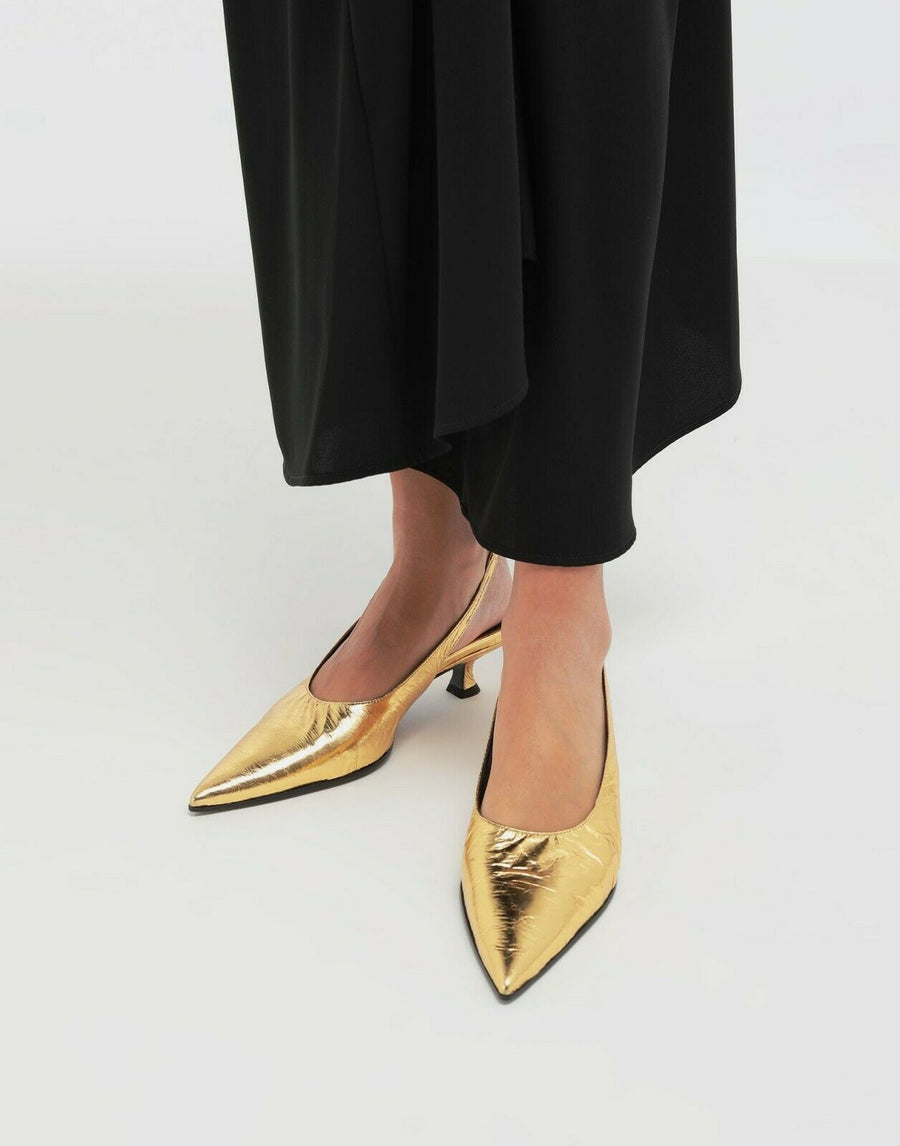 MM6 MAISON MARGIELA CRINKLED LEATHER SLINGBACK PUMP GOLD