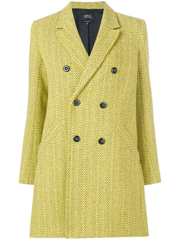 A.P.C. WOMEN TEXTURED DOUBLE BREASTED COAT YELLOW