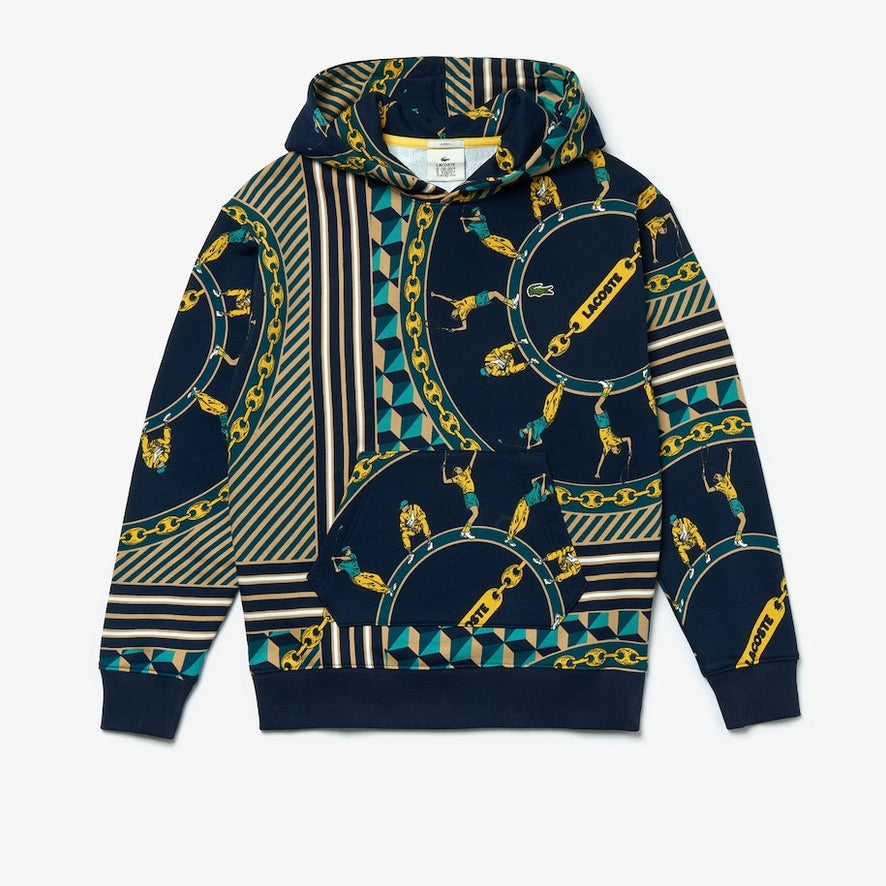 LACOSTE UNISEX LIVE SCARF PRNT HOODED SWEATSHIRTS