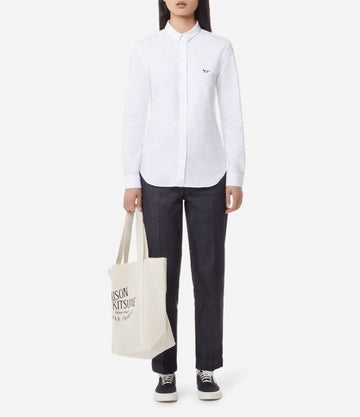 MAISON KITSUNE OXFORD TRICOLOR FOX SHIRT WHITE
