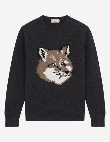 MAISON KITSUNE FOX HEAD PULLOVER DARK GREY