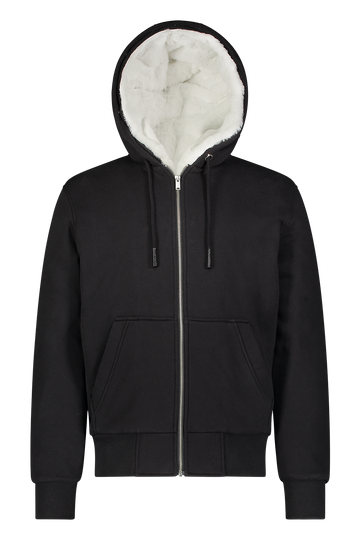 MOOSE KNUCKLES HIS BUNNY ZIP HOODIE BLACK/WHITE FAUX FUR