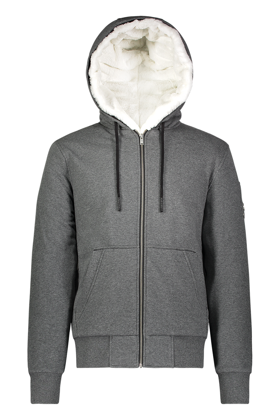 MOOSE KNUCKLES HIS BUNNY ZIP HOODIE CHARCOAL/WHITE FAUX FUR