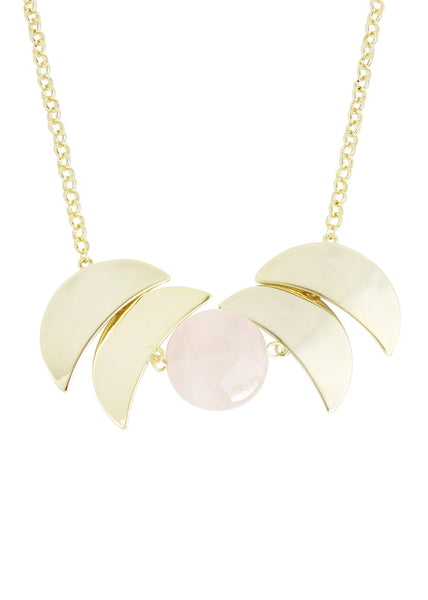 18K Bronze Moon Slice Accented Necklace with Rose Quartz