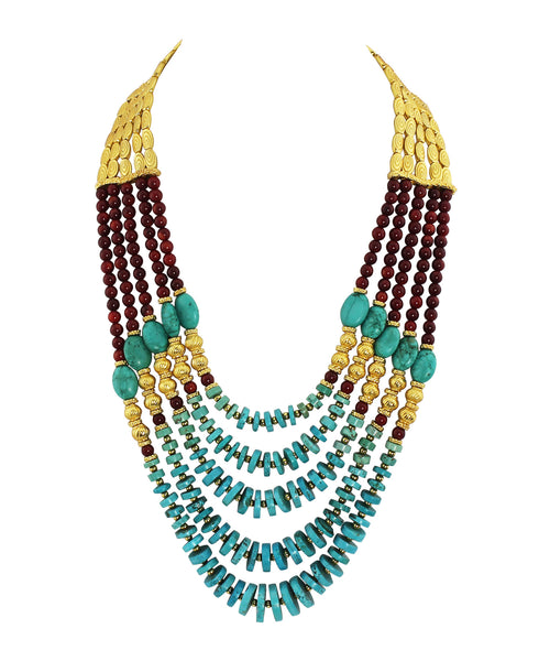 Multi-Strand Genuine Gemstone Statement Necklace