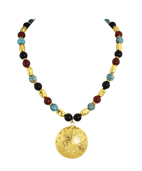 Multi-Color Gemstone Pendant Necklace