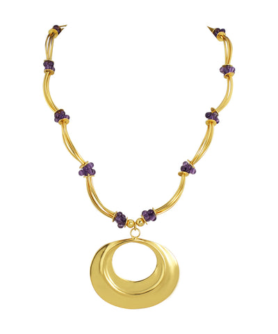 18k Bronze Amethyst Cluster Necklace