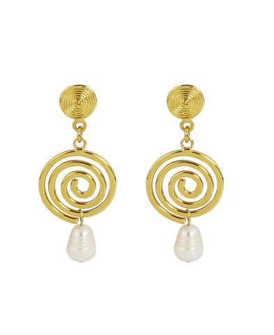 18k Bronze And White Pearl Spiral Earring