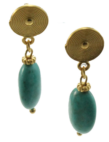 18k Bronze Spiral Dangle Earrings