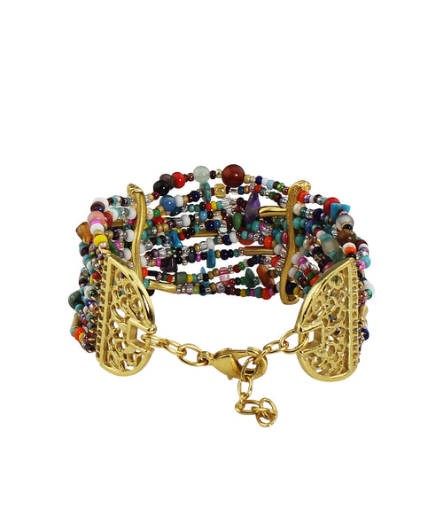 18k Bronze Genuine Gemstone Multi Stand Bracelet