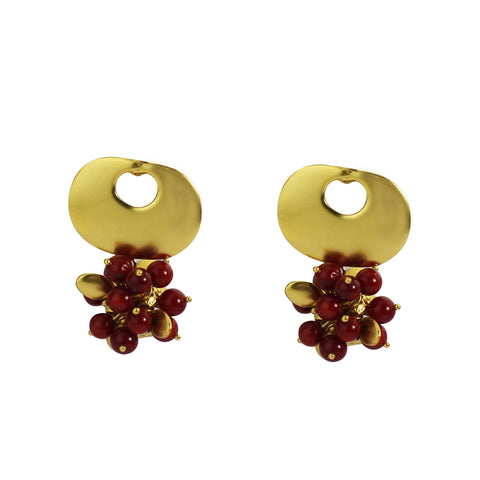 18k Bronze Bamboo Coral Cluster Earrings