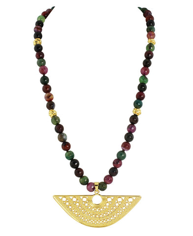 Multi-Color Faceted Gemstone Necklace with Pendant